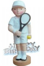 Tennis Player Resin Topper with Happy Birthday Motto